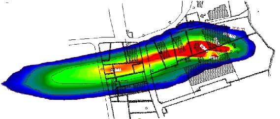 Modelleren van de verspreiding van de verontreiniging in het grondwater